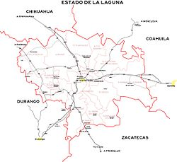 Map of Comarca Lagunera Metropolitan Area