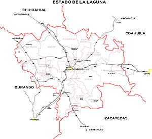 Comarca Lagunera - Image: Estado de La Laguna (Según Coparmex)