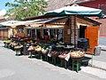 Esztergom Simor Street's market, grocery stand.jpg