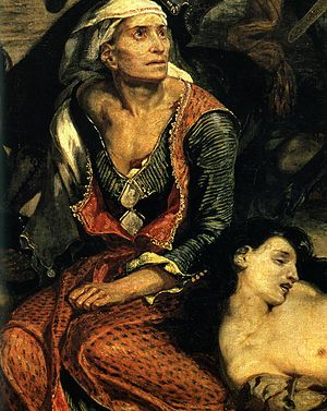 The Massacre at Chios - Figure of the old woman at the foot of the painting