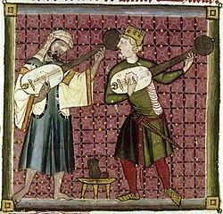 European and Islamic musicians in 13th century playing stringed instruments.jpg