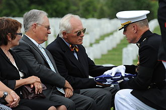 Laurence Pope - Laurence Pope (second from right) at the burial service for Major Pope (his father), Arlington National Cemetery, September 15, 2009