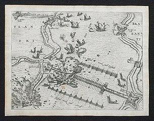 Explosie in 1585 bij de schipbrug van Alexander Farnese, de hertog van Parma, over de Schelde