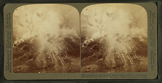 Battle of Paardeberg - Stereoscopic photograph of an ammunition wagon exploding during the Battle of Paardeberg