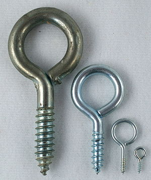 A few eye bolts, with wood screw threading.