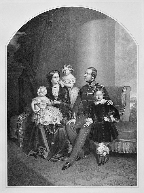 George V of Hanover, his wife Marie of Saxe-Altenburg and their children Ernest Augustus, Crown Prince of Hanover, Princess Frederica of Hanover, and Princess Marie of Hanover Family George V of Hanover.jpg