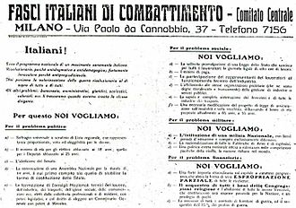 "1919 in Italy - The platform of Fasci italiani di combattimento, as published in ""Il Popolo d'Italia"" on 6 June 1919."