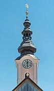 Feldkirchen Stadtpfarrkirche Mariä Himmelfahrt Kirchturm W-Ansicht 06062019 7154.jpg
