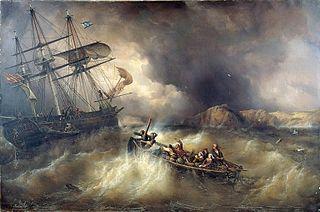 Sauvetage d'un bateau de pêche bas-breton par le Neptune, navire danois, sur les côtes de la Basse-Bretagne