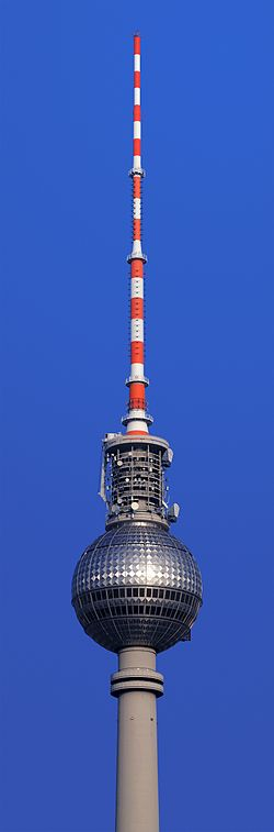 Detail shot of the Berlin television tower as seen from the roof of Berlin Cathedral.
