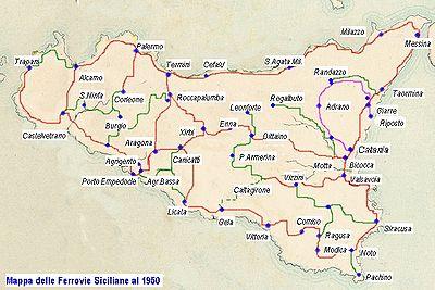 Rete ferroviaria della sicilia wikipedia estensione della rete ferroviaria siciliana al 1950 altavistaventures Images