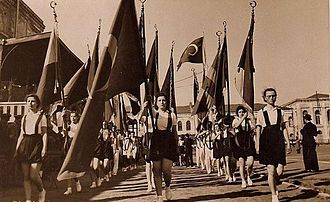 Commemoration of Atatürk, Youth and Sports Day - Flag parade of girls at the Youth And Sports Day in 1939