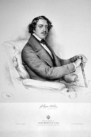 Filippo Colini - Filippo Colini Lithograph by Josef Kriehuber, 1847