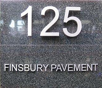 Finsbury Pavement - Sign outside No. 125, Finsbury Pavement.