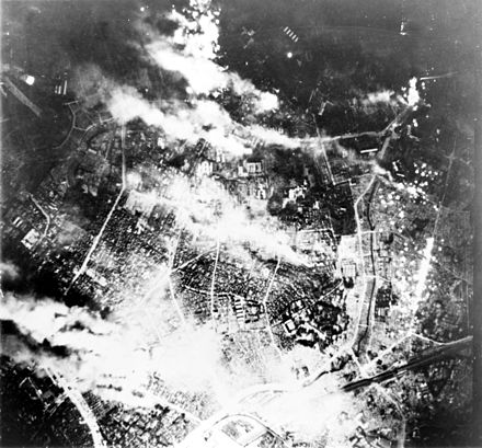 Tokyo burns during a firebomb attack 26 May 1945. Firebombing of Tokyo.jpg