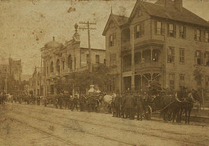Harris County, Texas - Firefighters on San Jacinto Street, circa 1914
