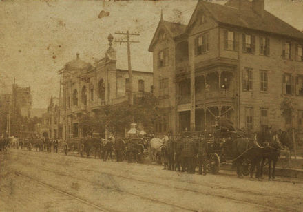 Firefighters on San Jacinto Street, circa 1914 Firefighters and Carriages.jpg