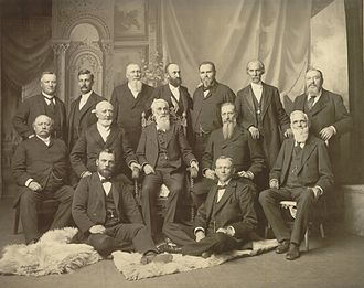 Quorum of the Twelve Apostles (LDS Church) - The First Presidency and the Quorum of the Twelve Apostles in September 1898