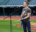 Five-time Grammy nominee Hunter Hayes performs his national anthem soundcheck, hours before Game 6 of the World Series. (30679501416).jpg