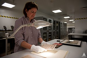 Deaccessioning (museum) - A museum registrar examines an artifact.