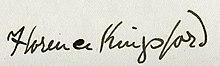 Signature of Florence Kingsford, 1902