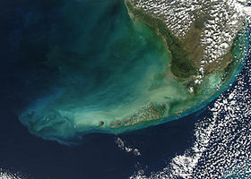 Le Florida Keys viste dal satellite.