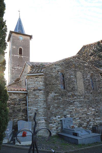 Fos (Hérault) - église Saint-Jean - chevet et clocher - cimetière