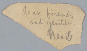 """Stephen Foster Collection and archive - This is considered to be Stephen Foster's last message, 1863-1864, found in his wallet when he died. It bears the words """"Dear friends and gentle hearts"""" in his handwriting. It may have been an idea for a song."""