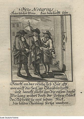 "Notary - ""Der Notar"" (""The Notary""), Copper engraving from 1698 book by Christoph Weigel the Elder"