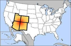Map graph - The Four Corners of the USA. Even though these four states meet at a point, rather than sharing a boundary of nonzero length, they form adjacent vertices in the corresponding map graph.