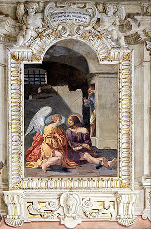 Francesco Carracci - Saint Roch is comforted by an angel, by Francesco Caracci.
