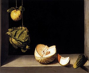 Juan Sánchez Cotán - Quince, Cabbage, Melon and Cucumber,   1602, San Diego Museum of Art