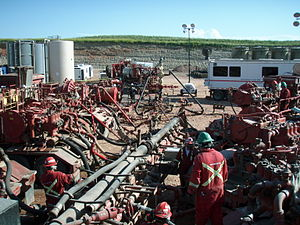 Hydraulic fracturing - A fracturing operation in progress