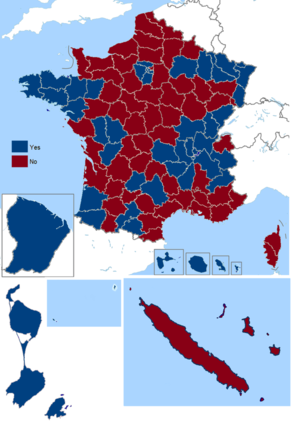 French Maastricht Treaty referendum, 1992 - Image: French Maastricht Treaty referendum results by departament (including overseas), 1992
