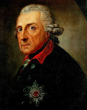 Anton Graff - Frederick the Great, King of Prussia (1781). This portrait is regarded as Anton Graff's masterpiece. Contemporaries claimed it was the best and most accurate portrait of Frederick the Great. It is the most famous and most copied and reproduced portrait of the King of Prussia.