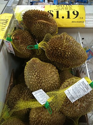 Frozen durian fruit in a grocery store in Canada