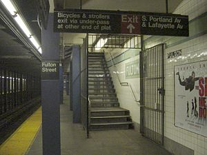 Fulton Street (IND Crosstown Line) - South Portland Avenue exit staircase on the northbound platform