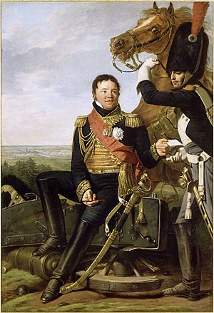 Frédéric Henri Walther - A fair-haired man in an ornate military uniform, rests on a stone. He hands a message to a grenadier, whose brown horse rears behind him.