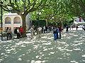 Génolhac (Gard, Fr), l'esplanade un jour de concours de boules.JPG