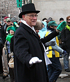 Gérald Tremblay - Mayor Tremblay at the 2007 Montreal Saint Patrick's Day Parade.