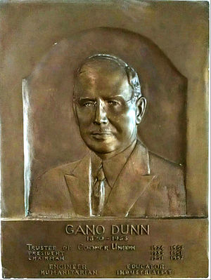 Gano Dunn - Plaque honoring Gano Dunn at Cooper Union