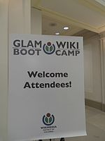 GLAM Wiki Boot Camp DC 2013 - Sign at NARA.jpg