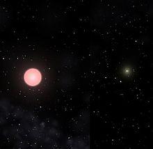 Gacrux A comparata col Sole, sulla destra, vista dalla distanza di 25 U.A. con il programma Celestia