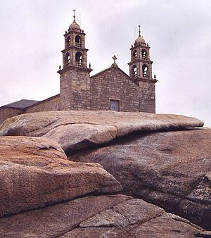 Pedras de abalar - The stone by the Our Lady of the Boat shrine in Muxía, A Coruña.