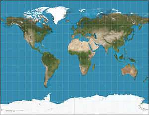 Gall stereographic projection - Gall stereographic projection of the world. 15° graticule.