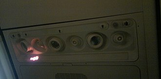 Environmental control system - Gasper over passenger seats of a Boeing 737-800