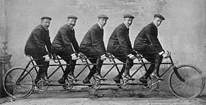Wilhelm von Opel - The Opel brothers on a five-seats tandem bicycle, 1912: Carl, Wilhelm, Heinrich, Fritz, Ludwig