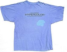 70a0e2660 Example of a Hypercolor T-shirt. A hair dryer was used to change the blue to  turquoise.