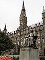 Georgetown University, Healy Hall & Statue of John Carroll.jpg