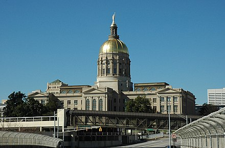 The Georgia State Capitol in Atlanta with the distinctive gold dome GeorgiaCapitolBuilding.jpg